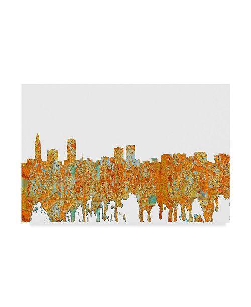 "Trademark Global Marlene Watson 'Baton Rouge Louisiana Skyline Rust' Canvas Art - 12"" x 19"""