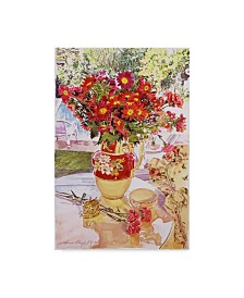 "David Lloyd Glover 'Flower Jug In The Window' Canvas Art - 12"" x 19"""