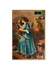 "Vintage Apple Collection 'Halloween Blue Dress Mirror' Canvas Art - 12"" x 19"""