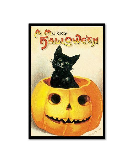 "Trademark Global Vintage Apple Collection 'Merry Halloween' Canvas Art - 12"" x 19"""