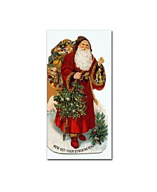 "Vintage Apple Collection 'Christmas Stocking Santa' Canvas Art - 12"" x 24"""