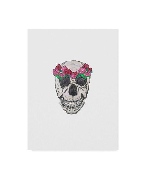 "Trademark Global Jessmessin 'Skull Rose Crown' Canvas Art - 14"" x 19"""