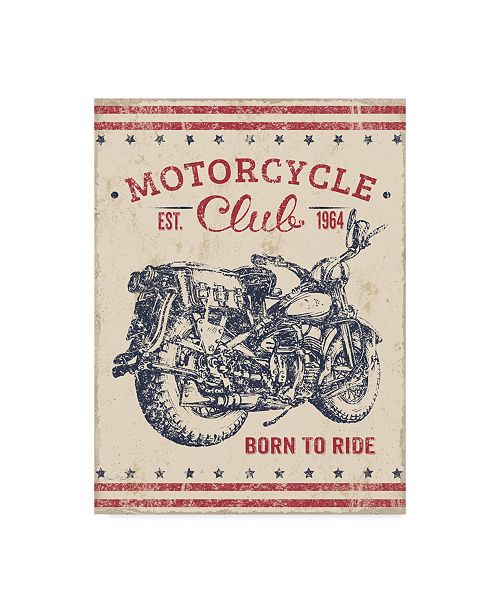 """Trademark Global Jean Plout 'Born To Ride' Canvas Art - 14"""" x 19"""""""