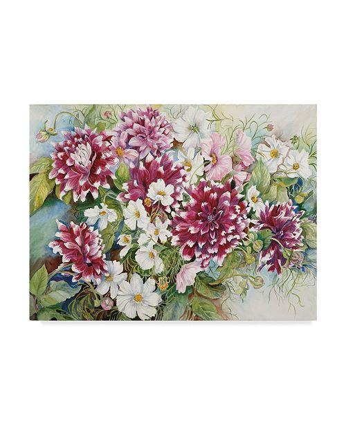 "Trademark Global Joanne Porter 'Burgundy Dahlias And Cosmos' Canvas Art - 14"" x 19"""