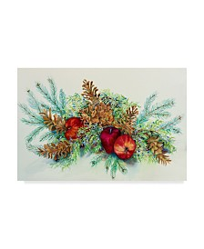 """Joanne Porter 'Winter Greens With Apples' Canvas Art - 12"""" x 19"""""""