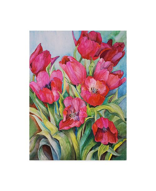 "Trademark Global Joanne Porter 'Red Tulips' Canvas Art - 14"" x 19"""