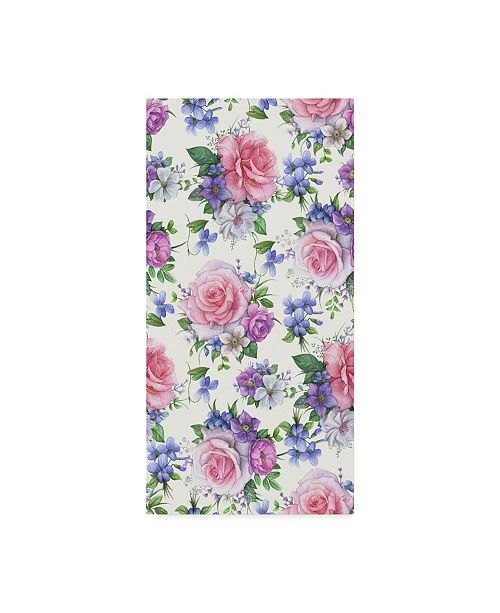 "Trademark Global Maria Rytova 'Roses And Hellebore (Pattern)' Canvas Art - 12"" x 24"""