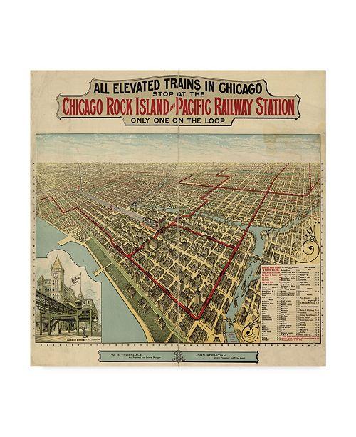 "Trademark Global Vintage Lavoie 'The Chicago El 1897' Canvas Art - 14"" x 14"""