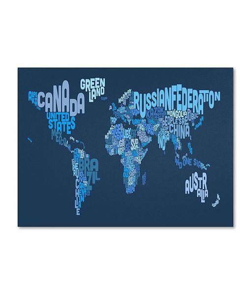 """Trademark Global Michael Tompsett 'World Text Map 2' Canvas Art - 14"""" x 19"""""""