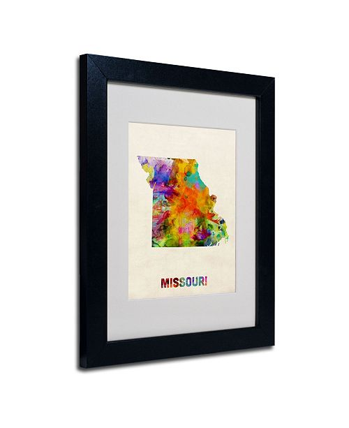 "Trademark Global Michael Tompsett 'Missouri Map' Matted Framed Art - 14"" x 11"""