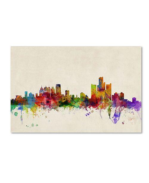 "Trademark Global Michael Tompsett 'Detroit, Michigan' Canvas Art - 12"" x 19"""