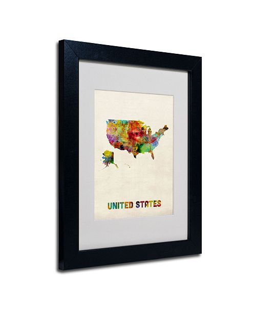 "Trademark Global Michael Tompsett 'US Watercolor Map' Matted Framed Art - 14"" x 11"""