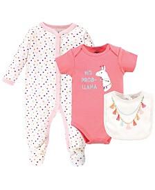 Little Treasure Baby Sleeper, Bodysuit and Bib, 3 Piece Set