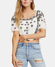 Free People Aurura Embroidered Square-Neck Top
