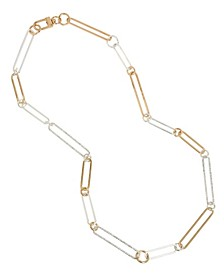 Two-Tone Oval Link Long Necklace