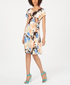 NY Collection Petite Paisley Printed Tie-Front Dress