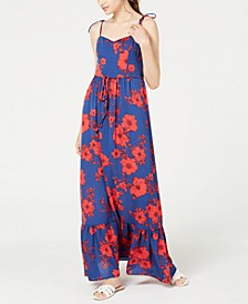 Juniors' Floral-Print Flounce Maxi Dress