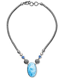 "Multi-Gemstone 18"" Pendant Necklace in Sterling Silver"