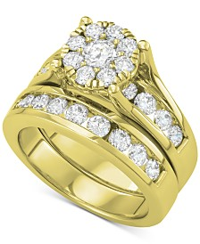 Diamond Cluster Bridal Set (2 ct. t.w.) in 14k Gold
