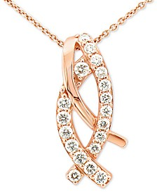 "Le Vian® Vanilla Diamonds® Curve 18"" Pendant Necklace (3/8 ct. t.w.) in 14k Rose Gold"