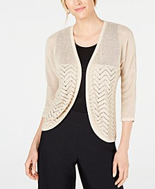 Petite Metallic Mixed-Stitch Cardigan Sweater, Created for Macy's