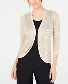 JM Collection Petite Metallic Mixed-Stitch Cardigan Sweater, Created for Macy's