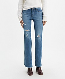 Women's Distressed Curvy Bootcut-Leg Jeans