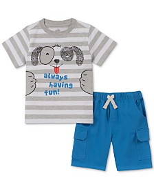 Kids Headquarters Baby Boys 2-Pc. Striped Puppy T-Shirt & Shorts Set
