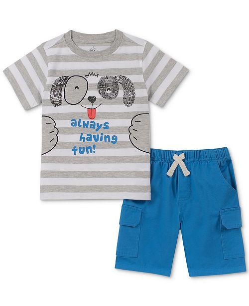 Kids Headquarters Baby Boys 2-Pc. Striped Puppy T-Shirt & Shorts Set