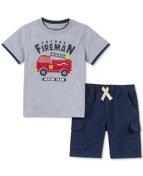 Kids Headquarters Baby Boys 2-Pc. Fireman T-Shirt & Shorts Set