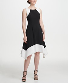 DKNY Sleeveless Colorblock A-line Dress
