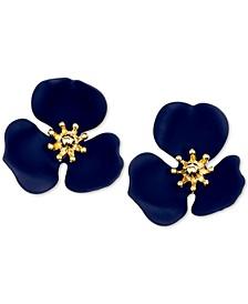 Gold-Tone Painted Flower Stud Earrings