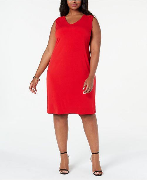 JM Collection Plus Size Grommet-Shoulder Sheath Dress ...