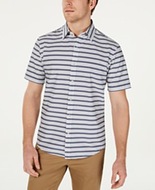 Michael Kors Men's Slim-Fit Stretch Horizontal Stripe Shirt