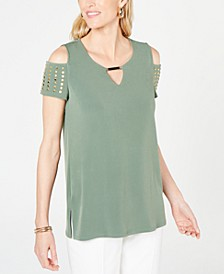 Petite Studded Cold-Shoulder Keyhole Top, Created for Macy's
