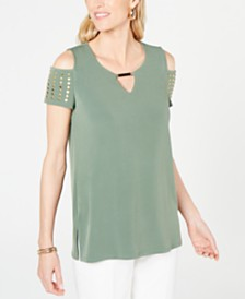JM Collection Petite Studded Cold-Shoulder Keyhole Top, Created for Macy's