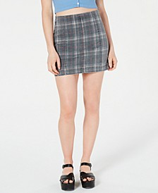 Juniors' Printed-Denim Mini Skirt