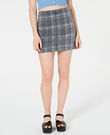 Tinseltown Juniors' Printed-Denim Mini Skirt