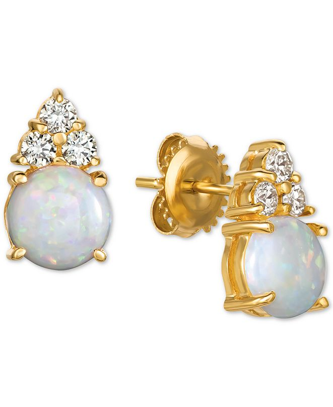 Macy's Opal (1-3/4 ct. t.w.) & Diamond (1/3 ct. t.w.) Stud Earrings in 14k Gold