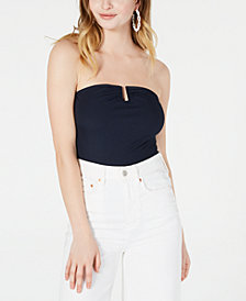 Material Girl Juniors' Strapless U-Ring Rib-Knit Bodysuit, Created for Macy's