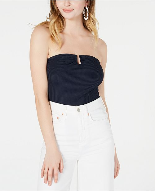 Material Girl Juniors' Strapless U-Ring Rib-Knit Bodysuit, Created for Macy's