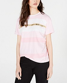 Striped Metallic-Graphic Cotton T-Shirt