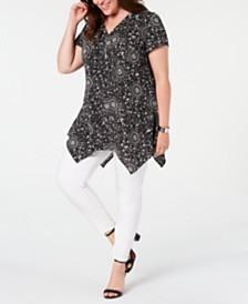 NY Collection Plus Size Quarter-Zip Handkerchief-Hem Top