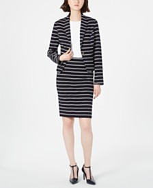 Calvin Klein Striped One-Button Jacket, Textured Short-Sleeve Top & Striped Pencil Skirt