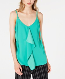 Bar III Sleeveless Crepe Ruffle Top, Created for Macy's