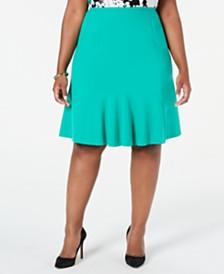 Nine West Plus Size Stretch Flare Skirt