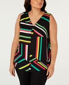 Bar III  Plus Size Printed Top, Created for Macy's