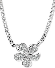 "Cubic Zirconia Pavé Flower Pendant Necklace in Sterling Silver, 16"" + 2"" extender, Created for Macy's"