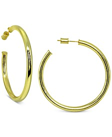 Round Hoop Earrings in 18k Gold Over Sterling Silver, Created for Macy's