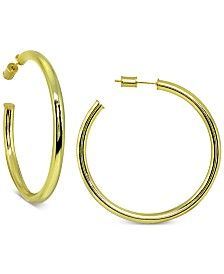 Giani Bernini Round Hoop Earrings in 18k Gold Over Sterling Silver, Created for Macy's